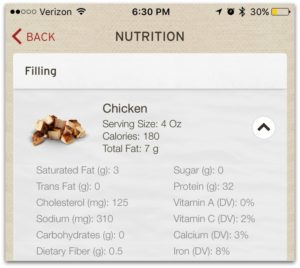 Nutritional Fact Menu of Chicken at Chipotle