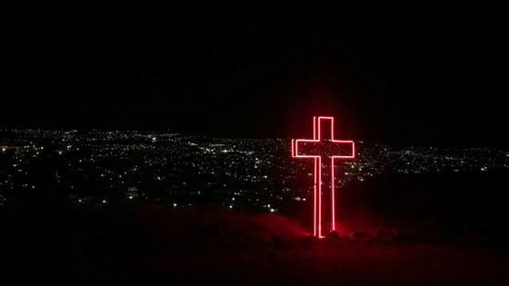 Red Illuminated Cross